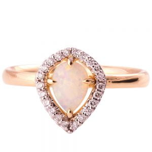 Halo Opal Engagement Ring Rose Gold