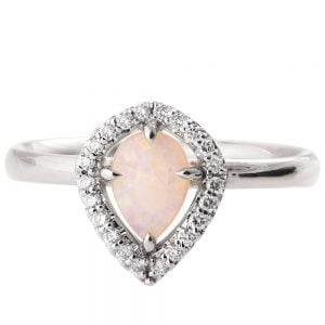 Halo Opal Engagement Ring White Gold