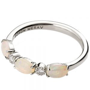 Opal Half Eternity Ring Platinum