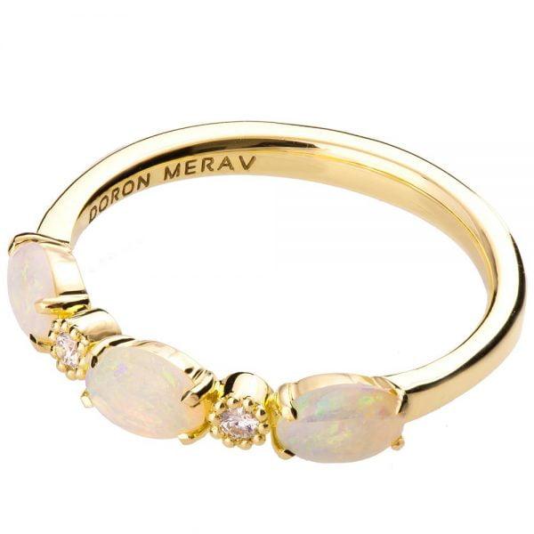 Half Eternity Opal Ring Yellow Gold