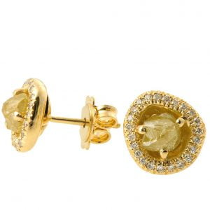 Raw Diamond Earrings Yellow Gold