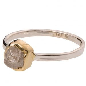 Raw Diamond Engagement Ring Yellow Gold