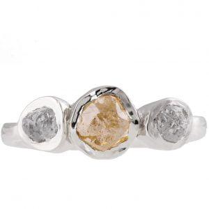Raw Diamond Three Stone Engagement Ring White Gold Catalogue