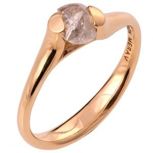 Raw Diamond Tension Engagement Ring Rose Gold