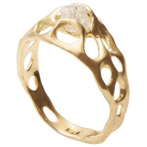 Raw Diamond Bio Engagement Ring Yellow Gold E