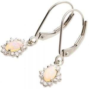 Opal Earrings White Gold and Diamonds