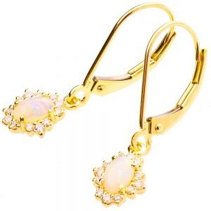 Opal Earrings Yellow Gold and Diamonds