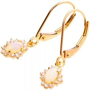 Opal Earrings Rose Gold and Diamonds