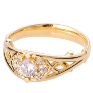 Celtic Engagement Ring Yellow Gold and Diamond 14B