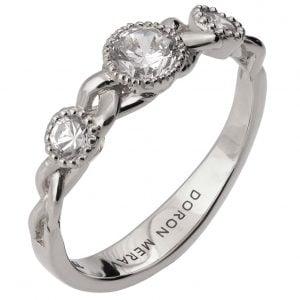 Braided Three Stone Engagement Ring White Gold and Diamonds 8s