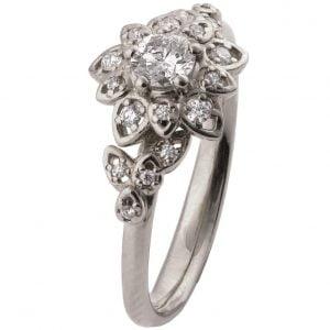 Flower Engagement Ring Platinum and Diamonds 2B