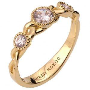 Braided Three Stone Engagement Ring Yellow Gold and Diamonds 8s