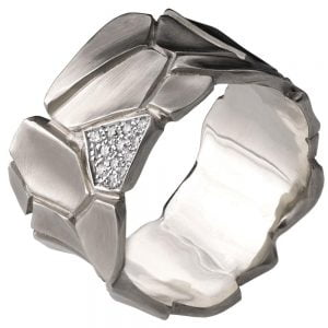 Parched Earth Wedding Band Platinum and Diamonds 2D