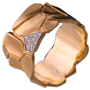 Parched Earth Wedding Band Rose Gold and Diamonds 2D