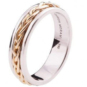 Two Tone Braided Wedding Band Rose Gold 9