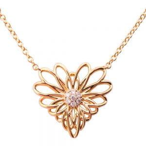 Heart Mandala Pendant Rose Gold and Diamonds