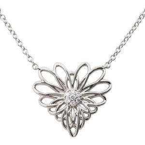 Heart Mandala Pendant White Gold and Diamonds