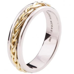 Two Tone Braided Wedding Band Yellow Gold 9