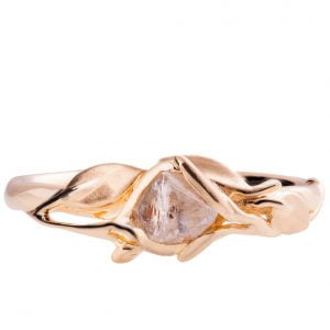 Raw Diamond Leaves Engagement Ring Rose Gold 6
