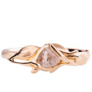 Raw Diamond Leaves Engagement Ring Rose Gold 6