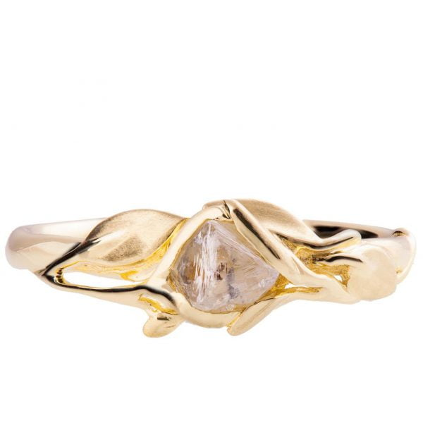 Raw Diamond Leaves Engagement Ring Yellow Gold 6 Catalogue