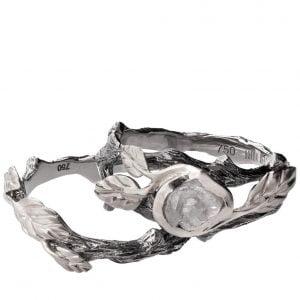 Raw Diamond Twig Bridal Set Platinum 8