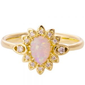 Petal Opal Engagement Ring Yellow Gold