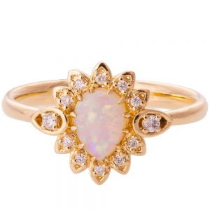 Petal Opal Engagement Ring Rose Gold