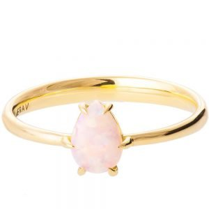 Solitaire Pear Opal Engagement Ring Yellow Gold 2
