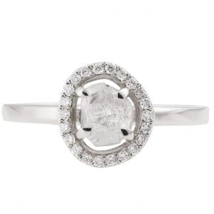 Raw Diamond Halo Engagement Ring White Gold Catalogue