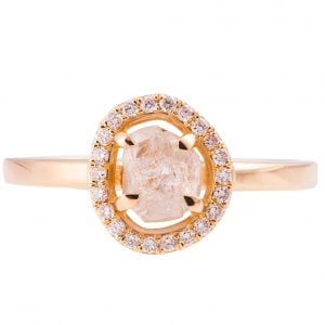 Raw Diamond Halo Engagement Ring Rose Gold