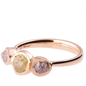 Raw Diamond Three Stone Engagement Ring Rose Gold