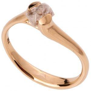 Raw Diamond Tension Engagement Ring Rose Gold