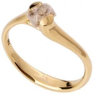 Raw Diamond Tension Engagement Ring Yellow Gold