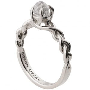 Raw Diamond Braided Engagement Ring Platinum 2