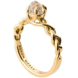 Raw Diamond Braided Engagement Ring Yellow Gold 2