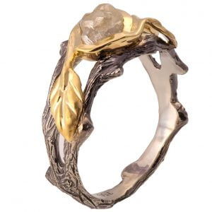 Raw Diamond Twig Engagement Ring Yellow Gold 8