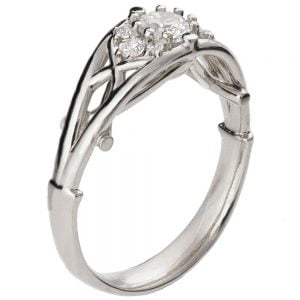 Celtic Engagement Ring White Gold and Diamond 14B