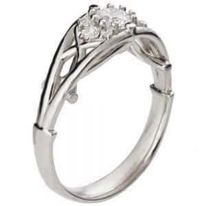 Celtic Engagement Ring White Gold and Diamond 14B