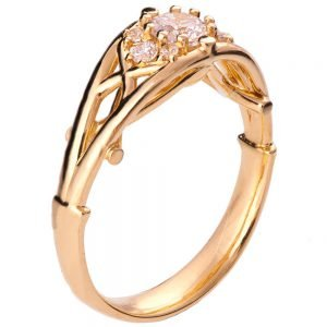 Celtic Engagement Ring Rose Gold and Diamond 14B