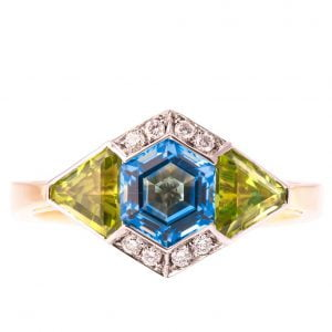 Art Deco Engagement Ring Yellow Gold and Topaz
