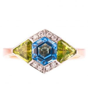 Art Deco Engagement Ring Rose Gold and Topaz