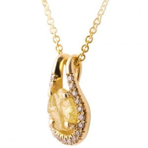 Raw Diamond Pendant Yellow Gold