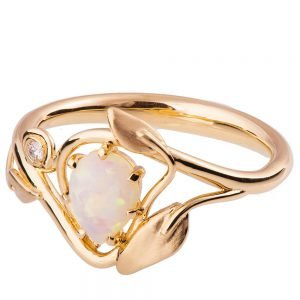 Leaves Opal Engagement Ring Rose Gold 3