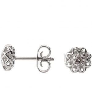 Celtic Earrings White Gold and Diamonds e001