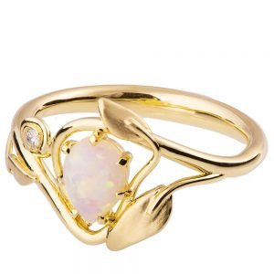 Leaves Opal Engagement Ring Yellow Gold 3