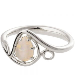 Twist Opal Engagement Ring Platinum 3