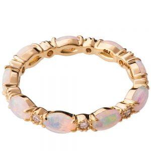 Australian white opal Eternity Ring Yellow Gold