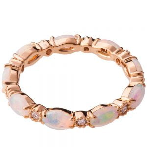 Opal Eternity Ring Rose Gold