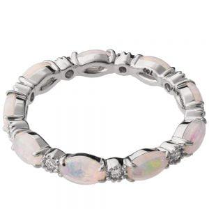 Opal Eternity Ring White Gold